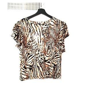 Zara Animal Print Lace Top Brown Black US S